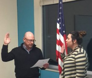 Board President Swears in Danielle Combs