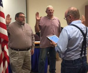 Board President Swears in Ed Sweazy and Dwight Smith
